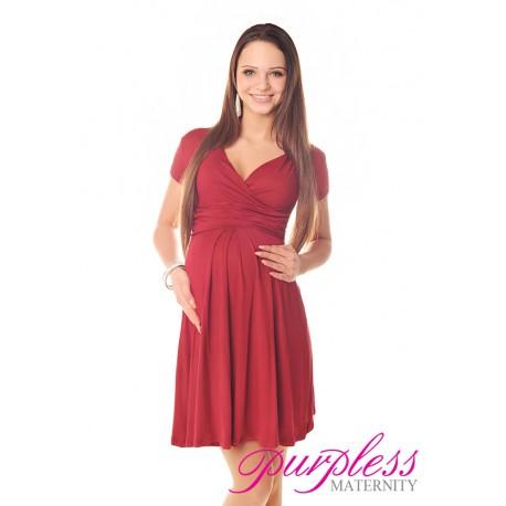 Short Sleeve Summer Dress 8417 Burgundy