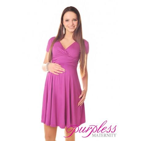 Short Sleeve Summer Dress 8417 Dark Pink