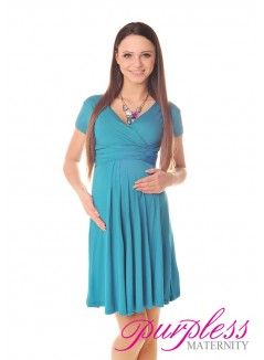 Short Sleeve Summer Dress 8417 Dark Turquoise