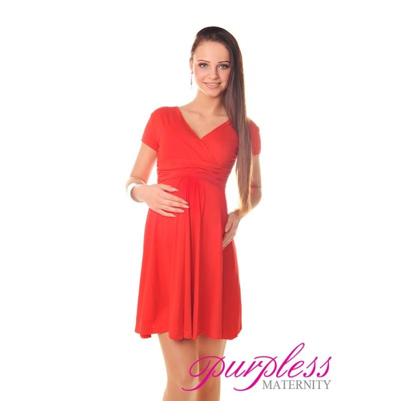 Short Sleeve Summer Dress 8417 Red Purpless Ltd