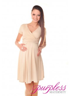 Short Sleeve Summer Dress 8417 Beige