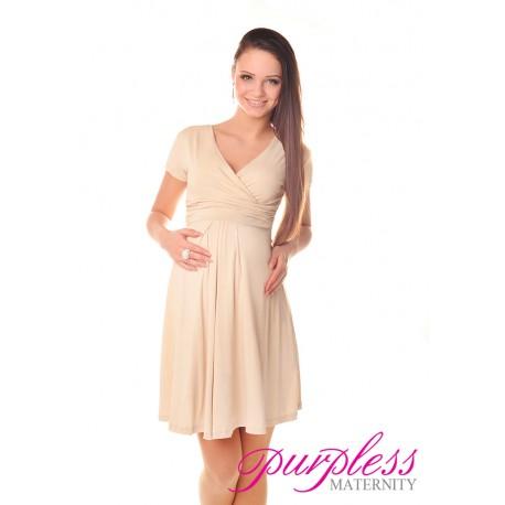 Short Sleeve Summer Dress 8417 Beige
