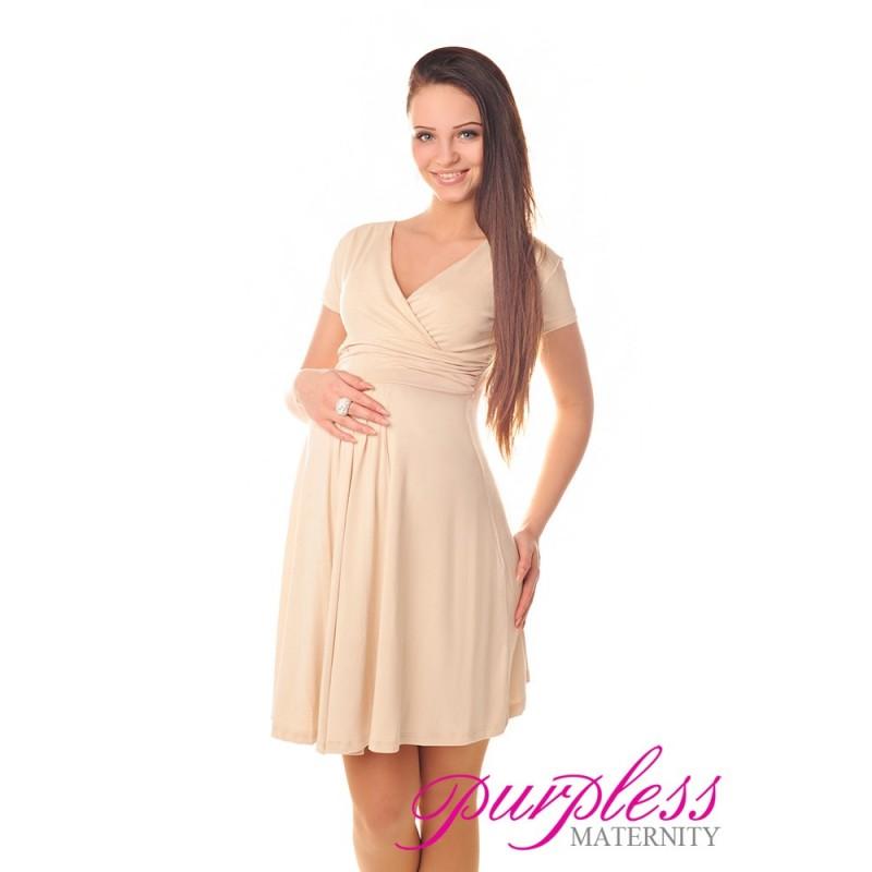 Short Sleeve Summer Dress 8417 Beige - Purpless Ltd