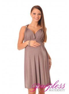 Maternity Summer Party Sun Dress 8423 Cappuccino