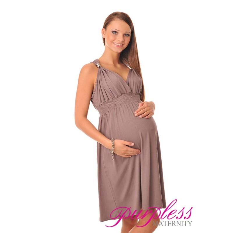 Maternity Summer Party Sun Dress 8423 Cappuccino ...