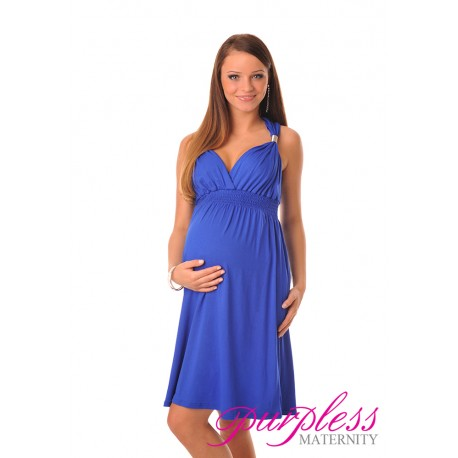 Maternity Summer Party Sun Dress 8423 Royal Blue