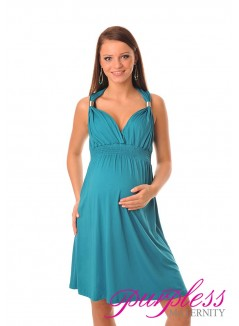 Maternity Summer Party Sun Dress 8423 Dark Turquoise
