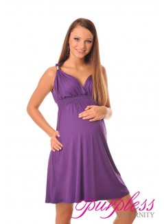 Maternity Summer Party Sun Dress 8423 Violet