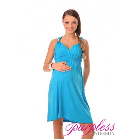 Maternity Summer Party Sun Dress 8423 Sky Blue