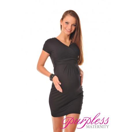 Maternity V-Neck Pregnancy Dress 8415 Black