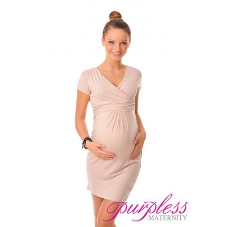 Maternity V-Neck Pregnancy Dress 8415 Beige