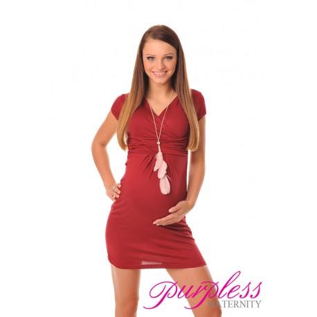 Maternity V-Neck Pregnancy Dress 8415 Burgundy