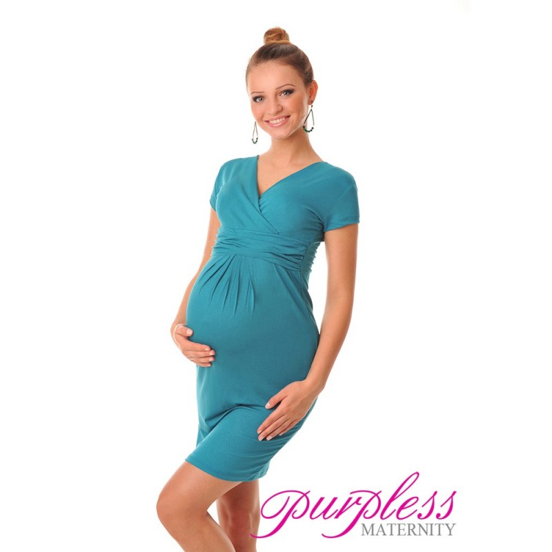 Maternity V-Neck Pregnancy Dress 8415 Dark Turquoise - Purpless Ltd