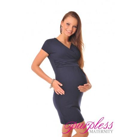 Maternity V-Neck Pregnancy Dress 8415 Navy