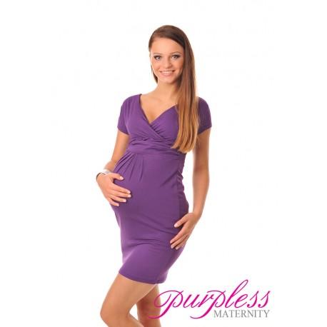 Maternity V-Neck Pregnancy Dress 8415 Violet