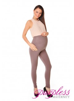 Stretchy Maternity Leggings Over Bump Full Length 1050 Cappuccino