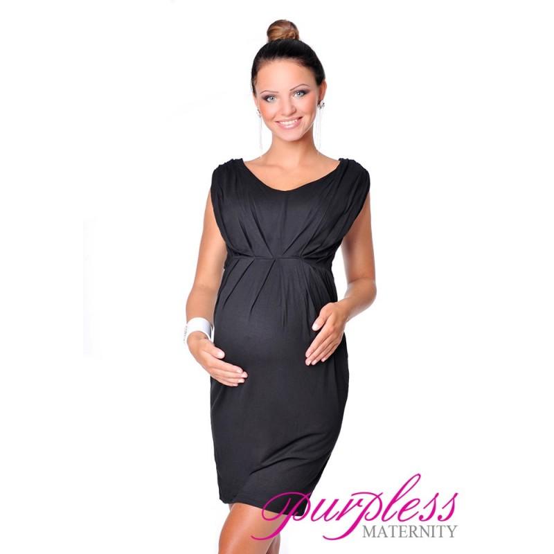 Sleeveless V Neck Maternity Dress 8437 Black - Purpless Ltd