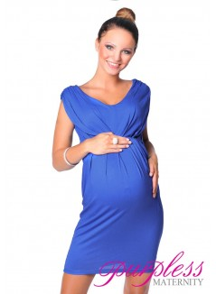 Sleeveless V Neck Maternity Dress 8437 Royal Blue