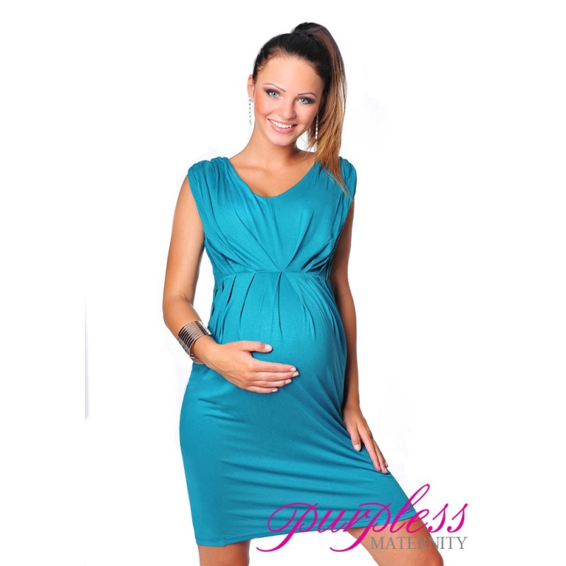 Sleeveless V Neck Maternity Dress 8437 Dark Turquoise - Purpless Ltd