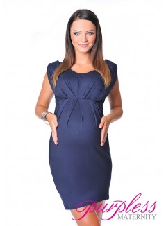 Sleeveless V Neck Maternity Dress 8437 Navy