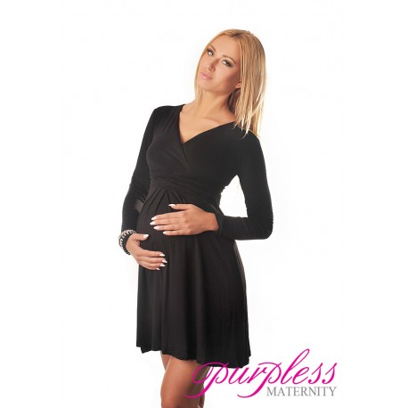 Long Sleeve Maternity V Neck Dress 4419 Black