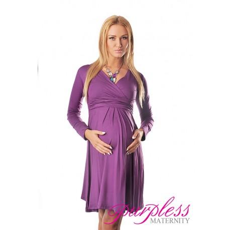 Long Sleeve Maternity V Neck Dress 4419 Violet