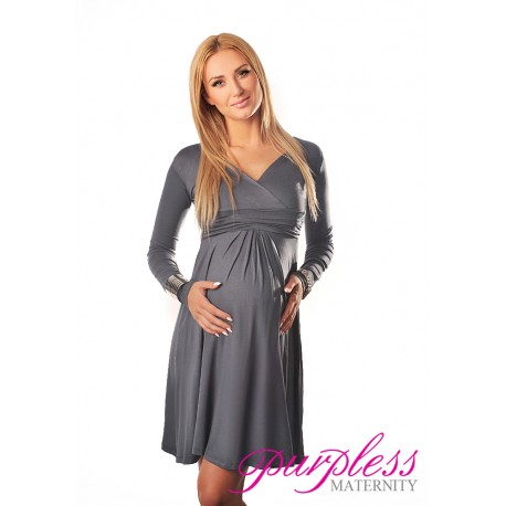 Long Sleeve Maternity V Neck Dress 4419 Army Gray
