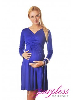 Long Sleeve Maternity V Neck Dress 4419 Royal Blue