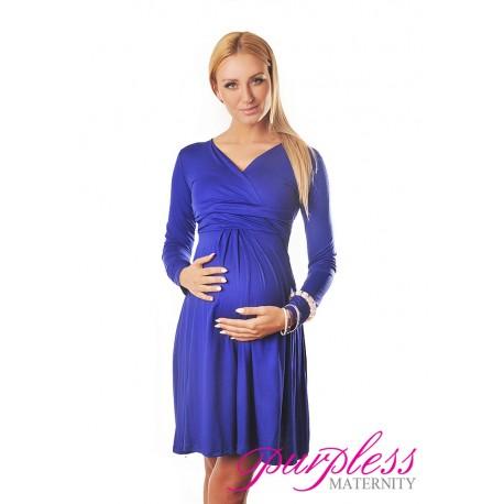 Long Sleeve Maternity V Neck Dress 4419 Royal Blue