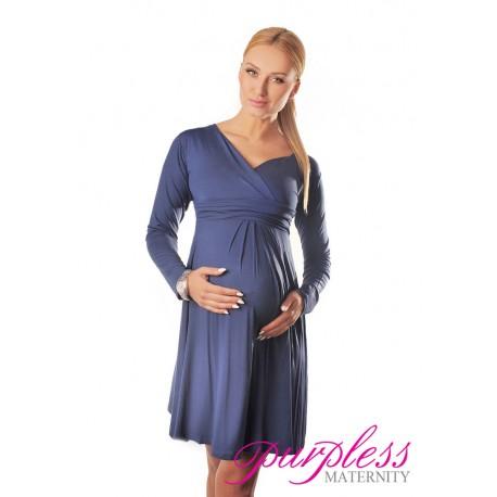 Long Sleeve Maternity V Neck Dress 4419 Jeans