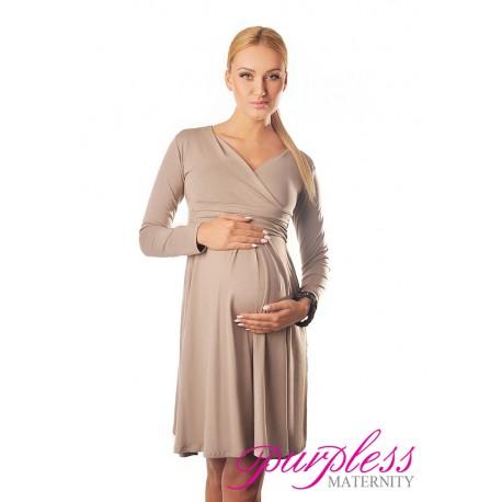 Long Sleeve Maternity V Neck Dress 4419 Light Cappuccino