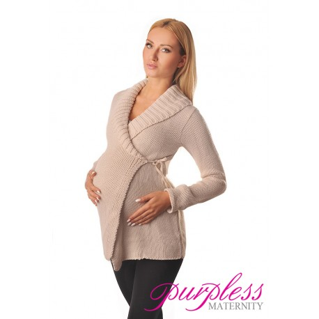Wrap Over Cardigan Pregnancy Nursing 9002 Beige