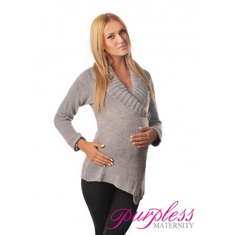 Wrap Over Cardigan Pregnancy Nursing 9002 Light Gray