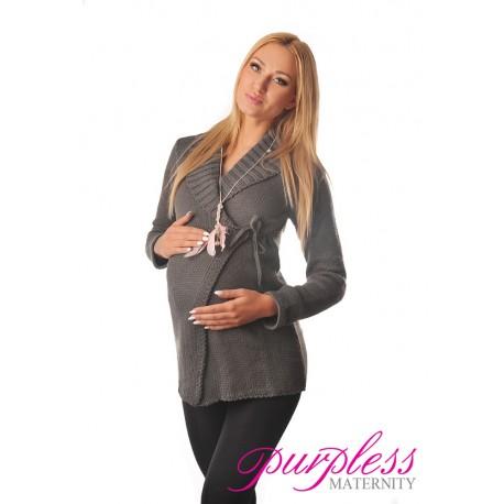 Wrap Over Cardigan Pregnancy Nursing 9002 Dark Gray