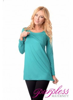 2in1 Maternity & Nursing Scoop Neck Tunic Breastfeeding 7021 Turquoise