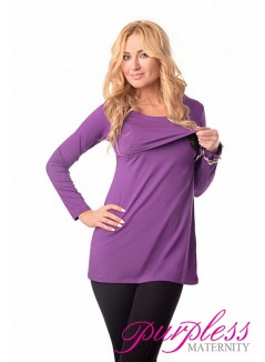 2in1 Maternity & Nursing Scoop Neck Tunic Breastfeeding 7021 Violet