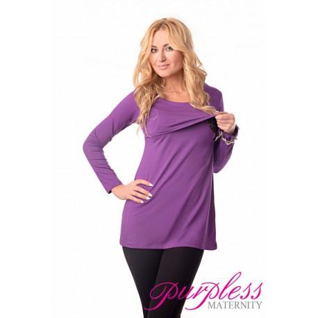 2in1 Maternity & Nursing Scoop Neck Tunic Breastfeeding 7021 Violet
