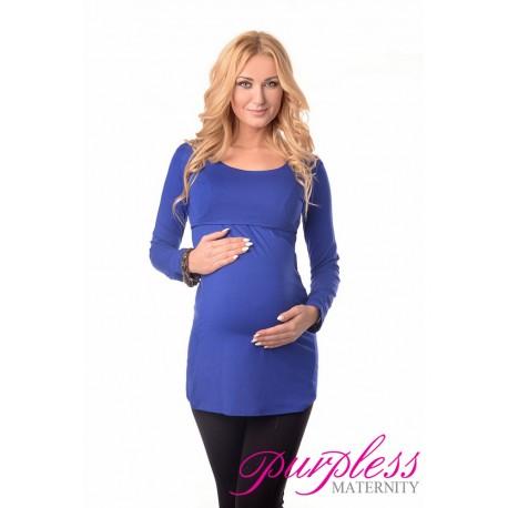 2in1 Maternity & Nursing Scoop Neck Tunic Breastfeeding 7021 Royal Blue