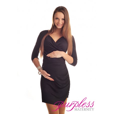 Ruched Side Dress 6408 Black