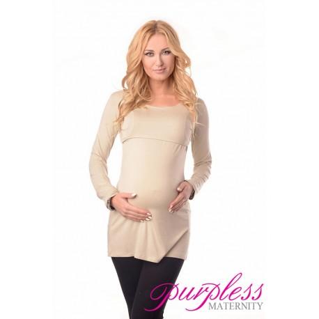 2in1 Maternity & Nursing Scoop Neck Tunic Breastfeeding 7021 Beige