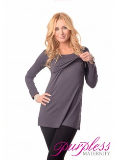 2in1 Maternity & Nursing Scoop Neck Tunic Breastfeeding 7021 Graphite