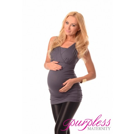 2 in 1 Maternity and Nursing Top 7005 Graphite