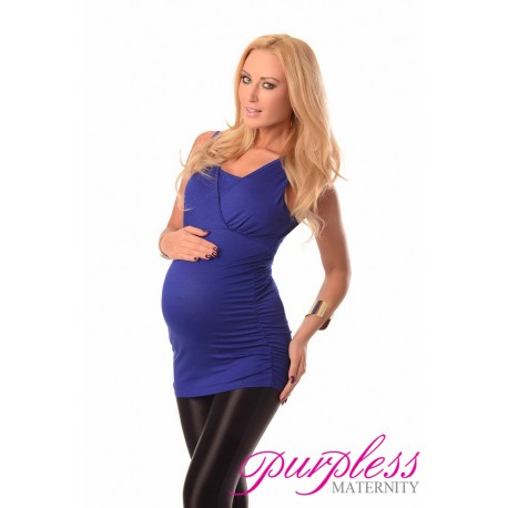 2 in 1 Maternity and Nursing Top 7005 Royal Blue