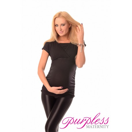 2 in 1 Maternity and Nursing Top 7006 Black