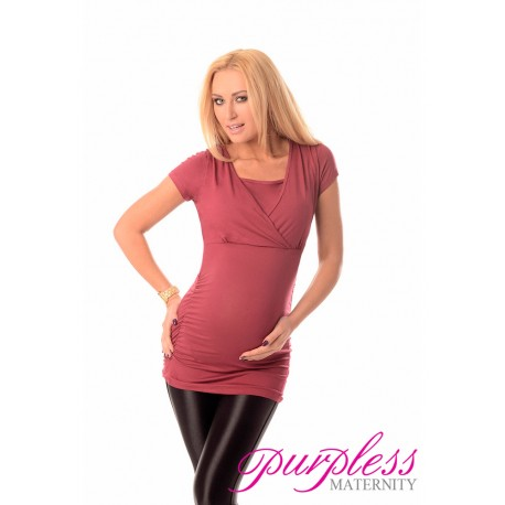 2 in 1 Maternity and Nursing Top 7006 Burgundy