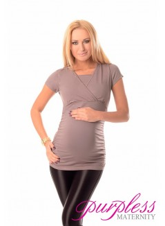 2 in 1 Maternity and Nursing Top 7006 Dark Cappuccino