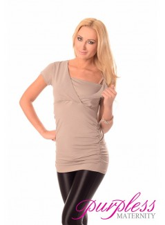 2 in 1 Maternity and Nursing Top 7006 Light Cappuccino