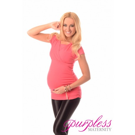 2 in 1 Maternity and Nursing Top 7006 Raspberry