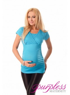 2 in 1 Maternity and Nursing Top 7006 Sky Blue