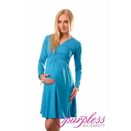 Long Sleeve Maternity V Neck Dress 4419 Sky Blue